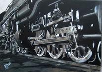 Schwarz weiß, Rad, Ölmalerei, Bahnhof