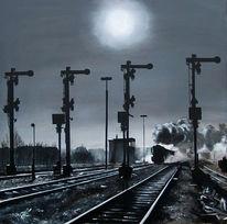 Ölmalerei, Bahnhof, Malerei, Dampflok