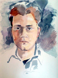 Portrait, Studie, Mann, Aquarellmalerei