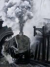 Dampf, Malerei, Lokomotive, Ölmalerei