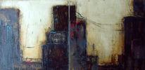 Strassensilouette, Pigmente, Bitumen, Acrylmalerei