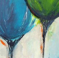 Spachteltechnik, Blau, Grün, Acrylmalerei