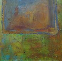 Grün, Türkis, Rostgrundierung, Acrylmalerei