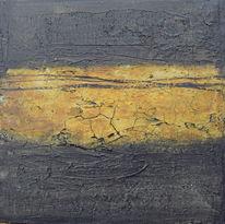 Ocker, Marmormehl, Schwarz, Acrylmalerei