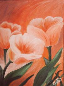 Sonnenuntergang, Tulpen, Blumen, Malerei