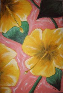 Grün, Hibiskus, Gelb, Malerei
