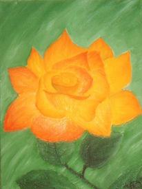 Orange, Malerei, Blumen, Acrylmalerei