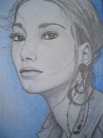 Blick, Betrachtung, Zeichnung, Frau
