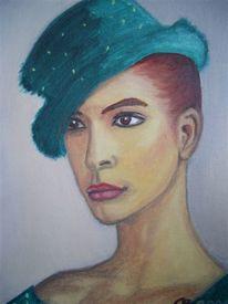Frau, Figural, Malerei, Grün