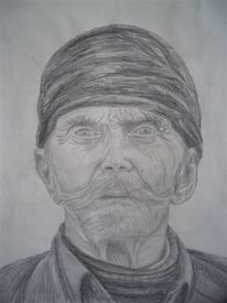 Mütze, Bleistiftzeichnung, Alter mann, Portrait