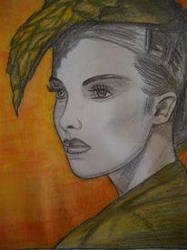 Frau, Bleistiftzeichnung, Portrait, Blick