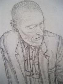 Skizze, Gedanken, Bleistiftzeichnung, Alter mann