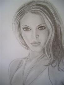 Zeichnung, Grau, Portrait, Frau