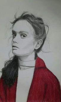Bleistiftzeichnung, Rot schwarz, Frau, Buntstiftzeichnung