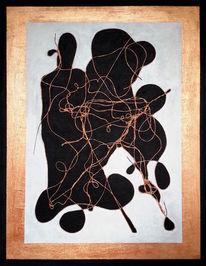 Bronze, Schwarz weiß, Symbiose, Acrylmalerei