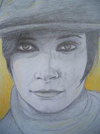 Gelb, Zeichnung, Frau, Bleistiftzeichnung
