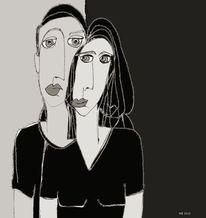 Paar, Blick, Gesicht, Zeichnungen