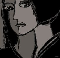 Schwarzweiß, Art deco, Augen, Ausdruck