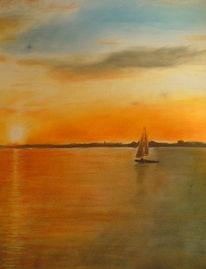 Boot, Kreide, Zeichnung, Romantisch