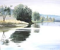 Malerei, Natur, See, Frühling