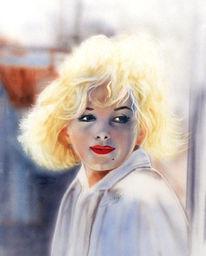 Schatten, Mädchen, Portrait, Blond