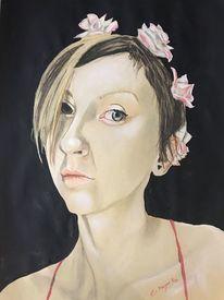 Roswitta, Rosenmädchen, Portrait, Malerei