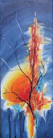 Gelb, Acrylmalerei, Feuer, Baum