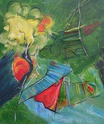 Grün, Rot, Abstrakt, Acrylmalerei
