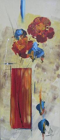 Malerei, Blumen, Rot, Vase
