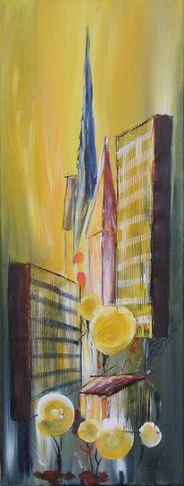 Acrylmalerei, Abstrakt, Stadt, Licht