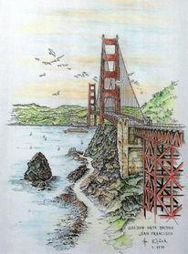 Federzeichnung, Brücke, Zeichnung, San francisco