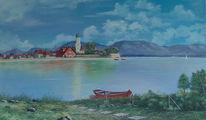 Malerei, Ölmalerei, Landschaft, Bodensee