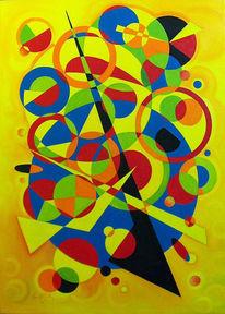 Ölmalerei, Malerei, Geometrie, Gelb