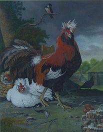 Malerei, Hahn, Gallischer, Figural