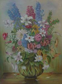 Malerei, Rittersporn, Blumen, Stillleben