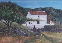 Spanisch, Malerei, Haus, Landschaft