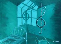 Knast, Notenschlüssel, Surreal, Malerei