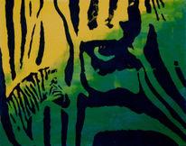 Grün, Zebra, Gelb, Malerei