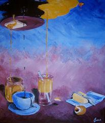 Kaffee, Honig, Tostbrot, Blau