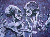 Umarmung, Malerei, Skelett, Schädel