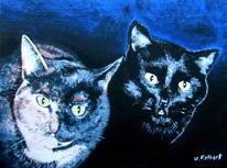 Malerei, Figural, Katze, Blau