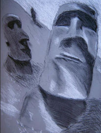 Grau, Malerei, Osterinsel, Steinkopf