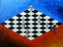 Malerei, Surreal, Blau, Schachmatt