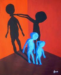 Figur, Blau, Männchen, Schatten