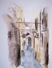 Malerei, Landschaft, Haus, Gasse