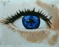 Blau, Augen, Malerei, Portrait