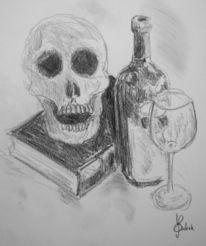 Wein, Skizze, Weinglas, Stillleben