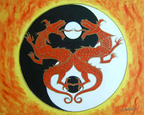 Malerei, Ying yang, Drache, Gücksdrachen