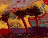 Acrylmalerei, Wasser, Fata, Oase