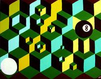 Würfel, Billard, Acrylmalerei, Grün